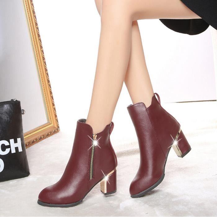 Chaussures à talons hauts escarpins femmes mode flock épais talon loisir 2 couleurs
