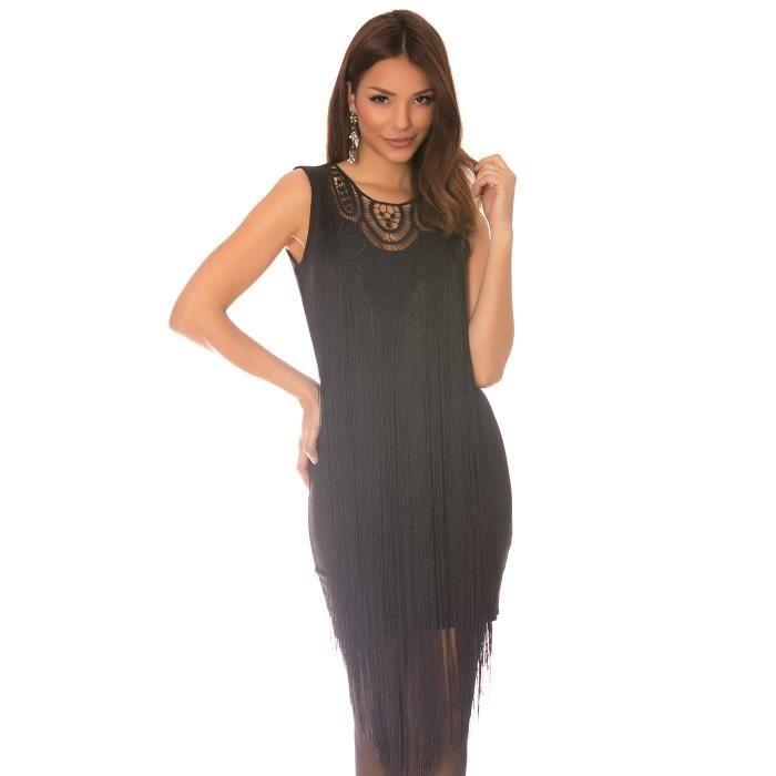 2964040f775 Sublime robe noire à longue frange sur le devant et col rond brodé. Robe  cocktail. WJ-5739 -