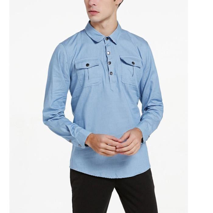 30b8a1ddc37f75 Bleu Clair Grande Taille Chemise Homme en Jeans Manche Longue Poches Plaqué  au Poitrine Col Roulé en Coton Vêtement Homme M-XXXL