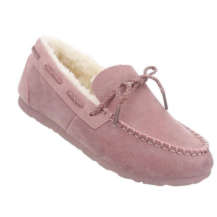 MOCASSIN Chaussures femmes mocassins chaud doublé Rose clai