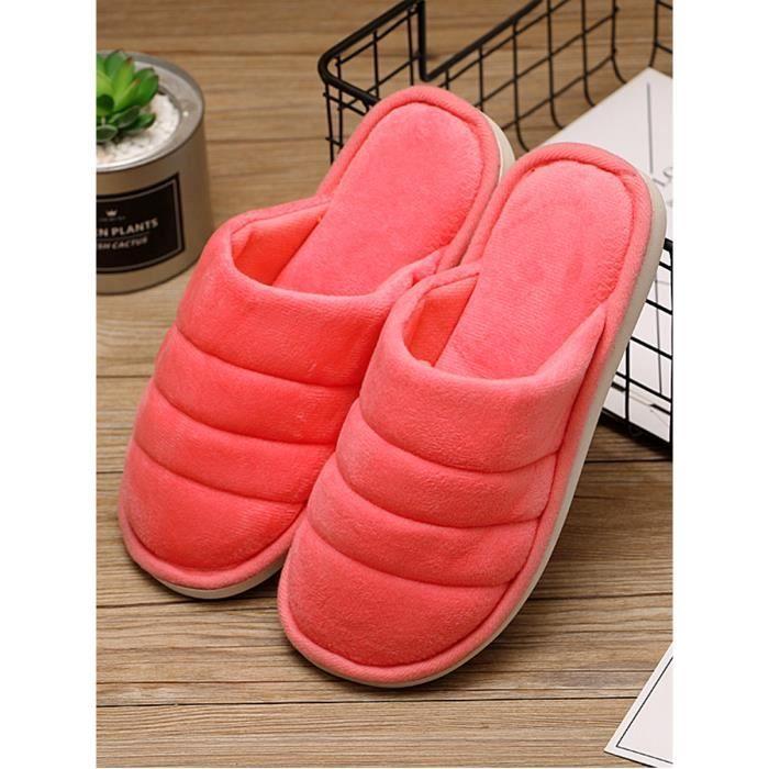 Pantoufles solide simple couleur souple Chaussons Couple chaussons 10352838