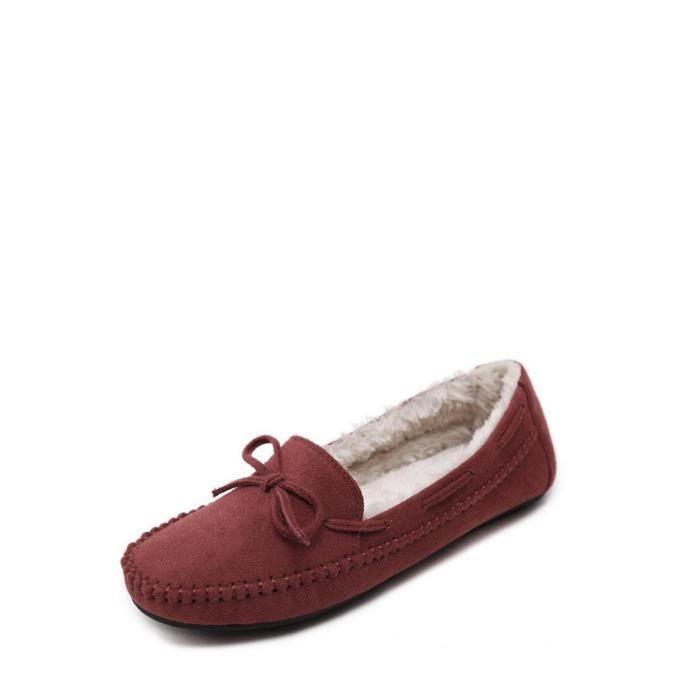 Mocassins Appartements Femmes Fashion Square Toe chaud bowknot Décor sélectionl Comfy Chaussures 10465642