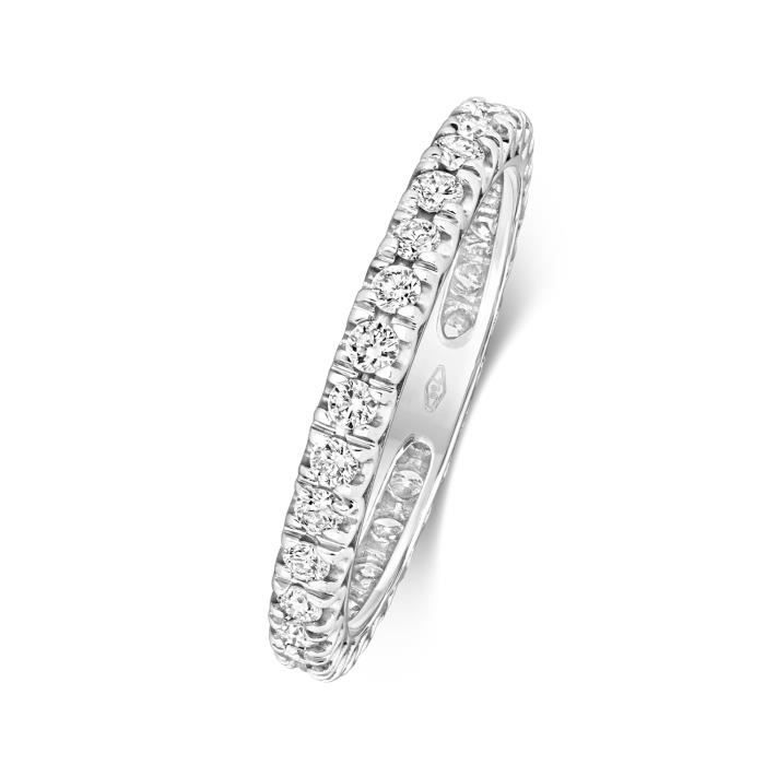Bague de Mariage-Alliance Femme 2,5mm Platine 950 et Diamant Brillant 0.62 Carat G - SI VS 31162