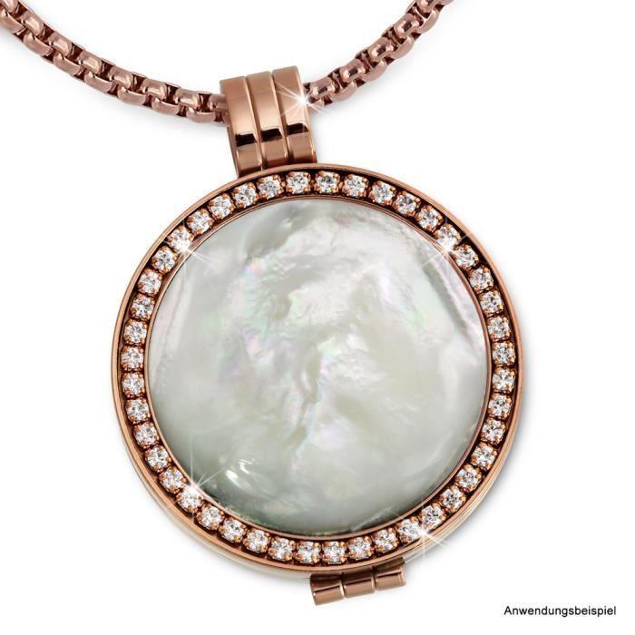 Amello Support pour pi?ces Coin Keeper 25mm Pendentif Cristal Zircon rose Bijoux en acier ESC054W
