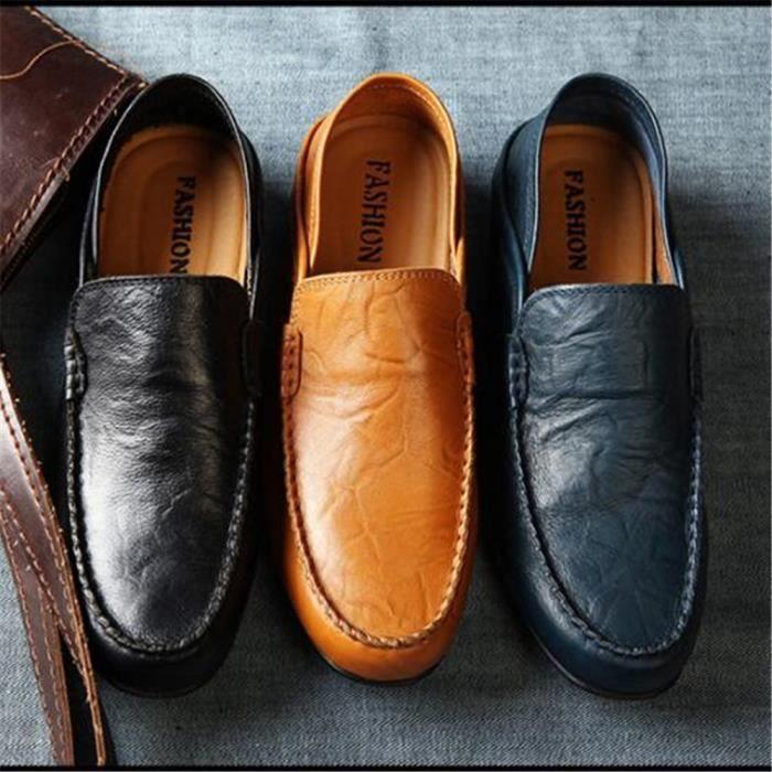 Mocassins Hommes Cuir Printemps Ete Leger Mode Plat Chaussures BZH-XZ078Noir41 dNKp3GC