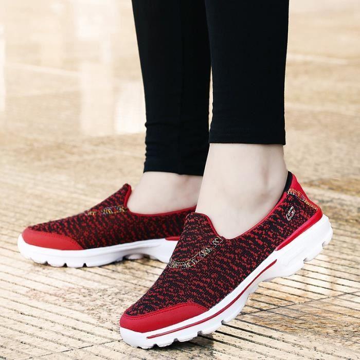 Femmes & # 39; fourreau sport Mocassins coton respirant dames plates Platforms Femme Soft Comfort Chaussures de marche de AxHI8