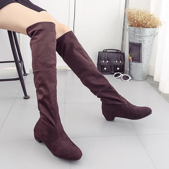 Hiver Chaussures Haute marron Automne Bottes Plat Daim Daim Jeffrey®femmes Longues En d1SOUq6pd