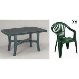 Table de jardin en plastique vert - Achat / Vente pas cher