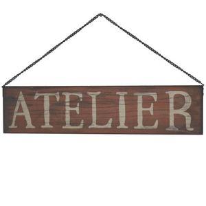 OBJET DÉCORATION MURALE Plaque Enseigne de Porte Atelier Rouge 50 cm x 12