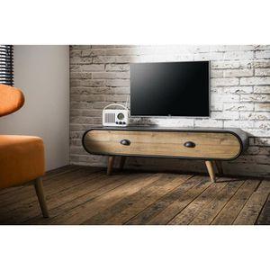 meuble tv metal et bois achat vente pas cher. Black Bedroom Furniture Sets. Home Design Ideas