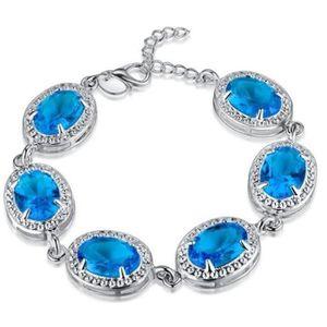 BRACELET - GOURMETTE plaqué argent bracelet femmes aigue-marine blue Cr
