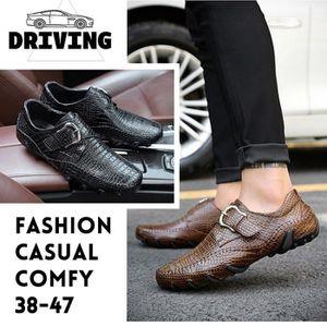MOCASSIN pour Hommemarron 8.5 Mode respirante Chaussures de conduite en cuir pour occasionnels anti-patinage (noir, br_46227
