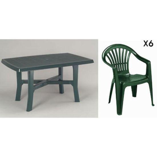 Table rectangulaire verte 138 cm + 6 fauteuils jardin plastique vert ...