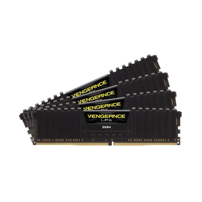 KITS MÉMOIRE CORSAIR Vengeance LPX - Densité : Kit 16 Go (4 x 4 Go) - Débit : DDR4-2400MHz - Latence : 14-16-16-31 - Tension : 1.2V - Format : DIMM - Pin Out: 288 Pin - Intel XMP 2.0 - Garantie à vie - Ref. : CMK16GX4M4A2400C14MEMOIRE PC - PORTABLE