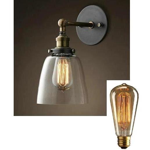 ampoule + lampe fashion applique mural vintage pour bar restaurant salle a  mange cafeterie