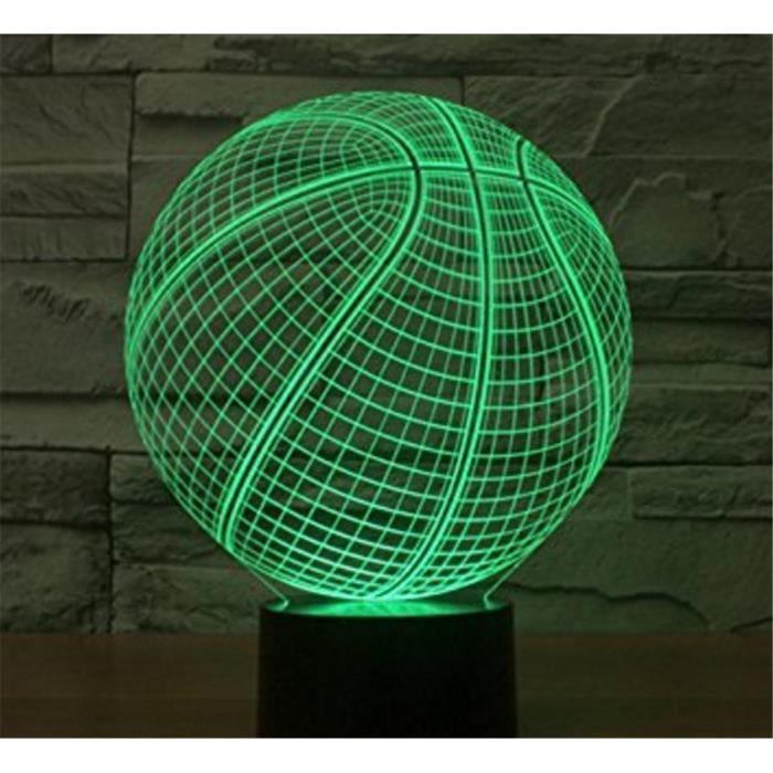 Forme Lampe Globe Contrôle Bureau Noël 3d Lumière Couleurs Changement Toucher Basketball 7 Pour Table Rond Happymood Led Nuit m0Onwv8N