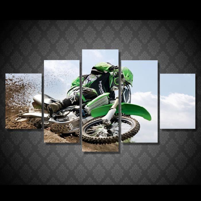 Toile Imprimé Mur Art Peinture Le Salon Affiche 5 Pièces Motocross