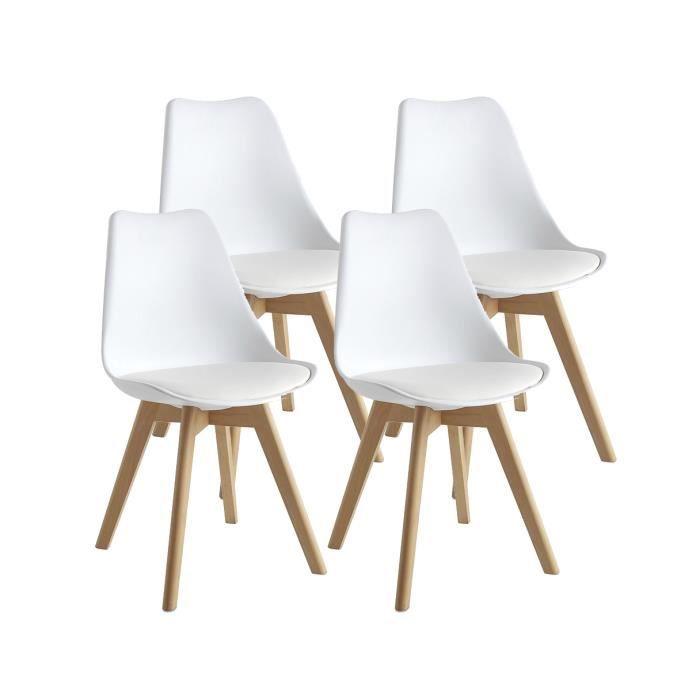 Carl Lot De 4 Chaises De Salle A Manger Design Scandinave Blanc