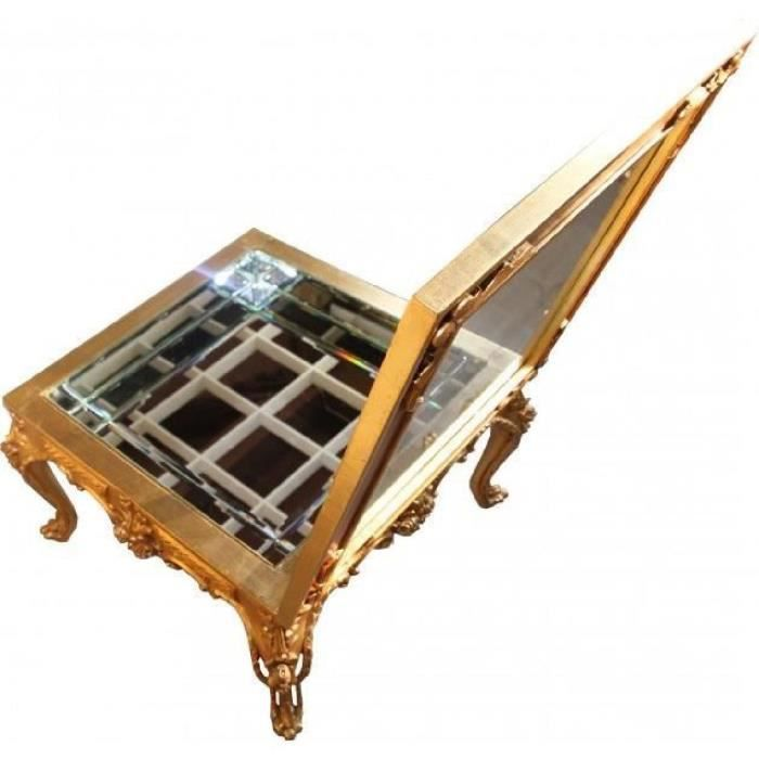 Magnificent Casa Padrino Baroque Couchtisch Gold Mirrored With Hinged Glass Lid 67 X 67 Cm Living Room Salon Furniture