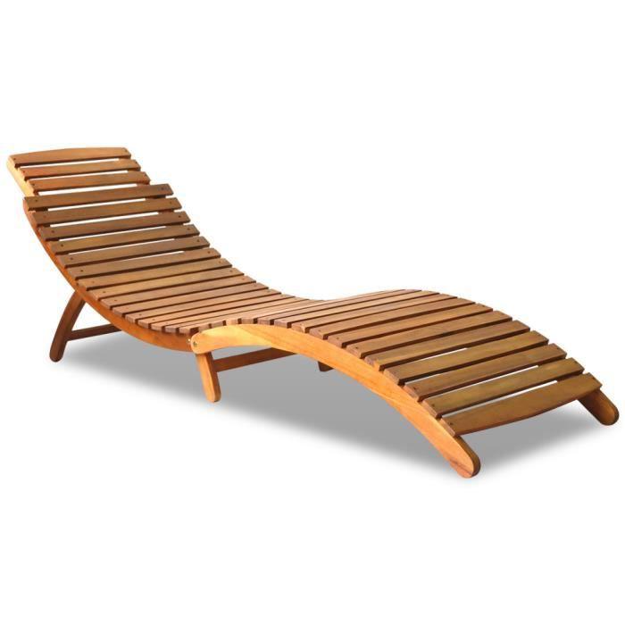 chaise longue pliable en bois d 39 acacia imperm able l 39 eau. Black Bedroom Furniture Sets. Home Design Ideas