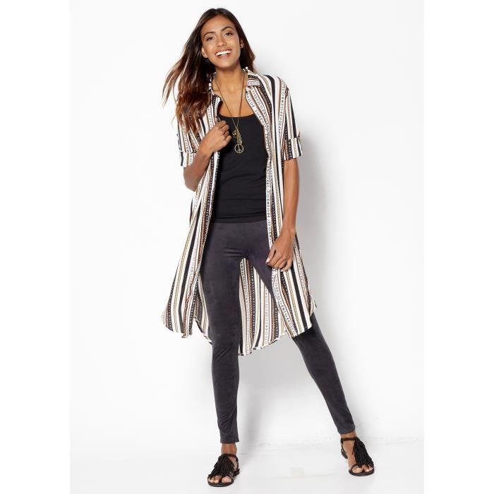 chemise longue femme imprim ethnique venca noir achat vente chemise chemisette soldes. Black Bedroom Furniture Sets. Home Design Ideas
