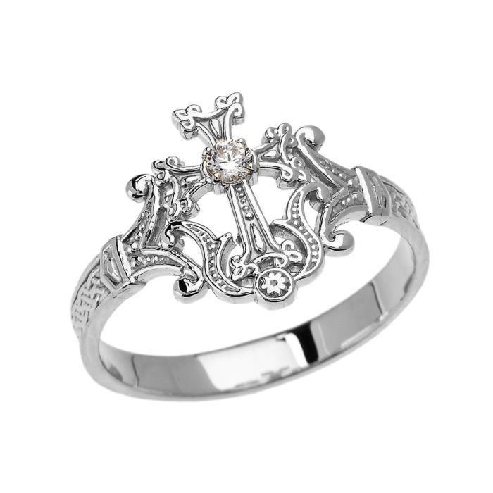 prix compétitif 823a1 987f5 Bague Femme Argent Fin 925-1000 Solitaire Diamant Arménien Croix Elégant