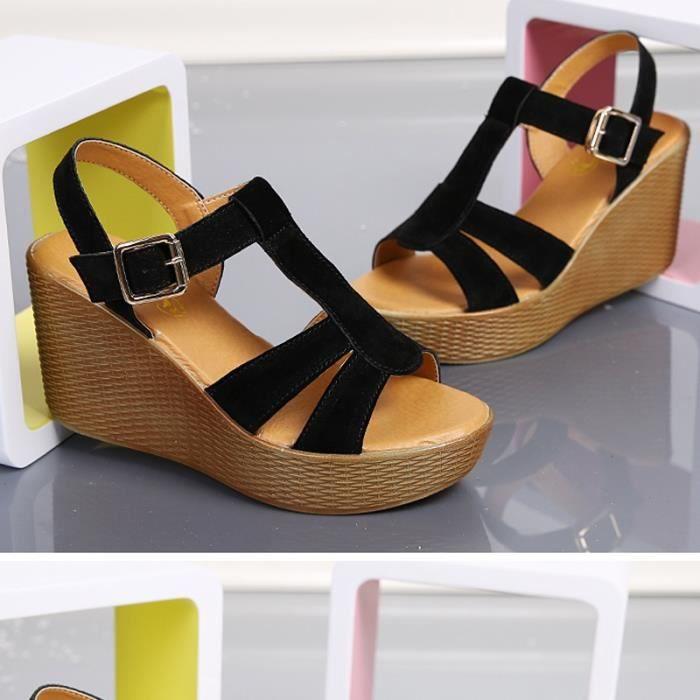 Femmes Mode Plate-forme Sandales Compensées Suede
