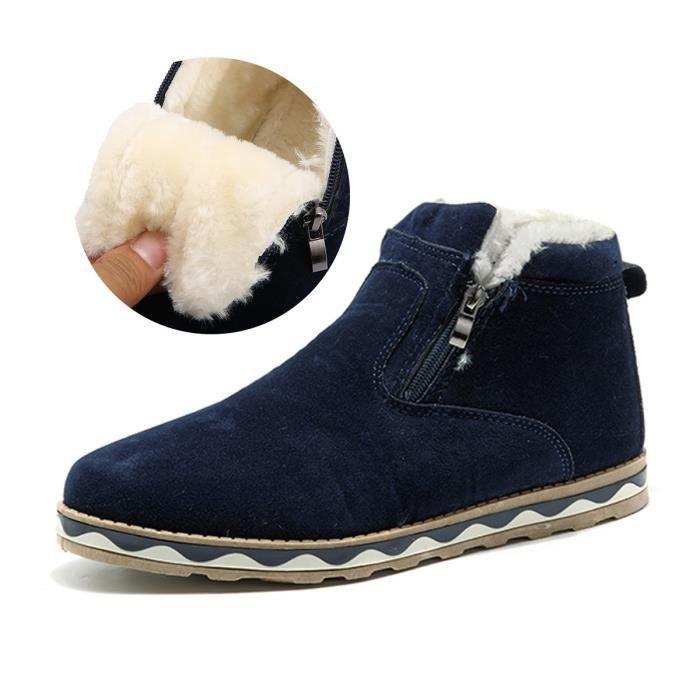 Bottes velours et femmes, style britannique Suede Bottes de neige d'hiver Plate-forme chaussures plates chaudes A526B Taille-41