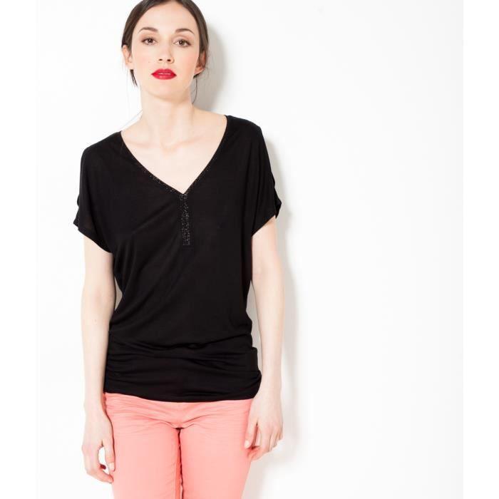 cb81427f8956 Camaïeu - T-shirt femme épaules dénudées - TOPEN NOIR Noir Noir ...