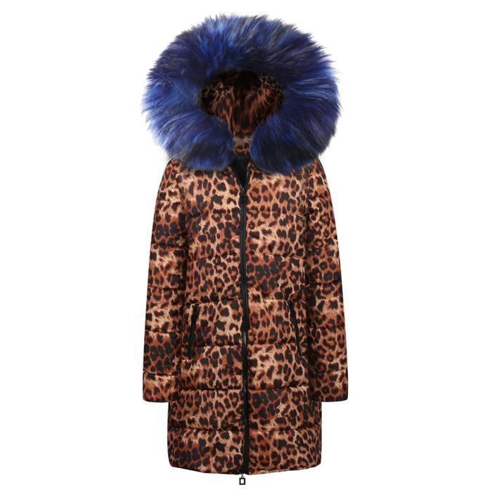 Coton Parka bleu Hiver Vers Femmes Manteau Léopard Outwear Imprimé Le Bas Veste À Capuchon Doudoune 86q5w