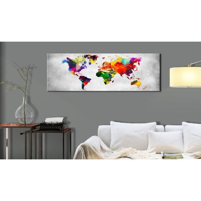 tableau cartes du monde chic taille 120x40 world map. Black Bedroom Furniture Sets. Home Design Ideas