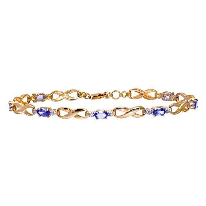 Revoni - Bracelet en or jaune 9 carats, tanzanites et diamants- REVCDPBC01733YTanz