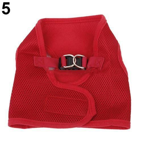 1 Pc Pet Chien Maille Doux Tissu Collier De Marche Sangle Gilet Harnais Vêtements Rouge L