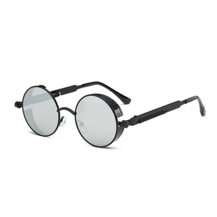 Lunettes de soleil plates rondes miroir vintage de mode lunettes pour femmes Hommes (Cadre noir avec lentille argentée)