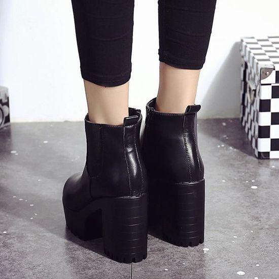 ChaussuresFemmes Cuir Noir37 En Talons à Plateformes Hauts Bottes zpMVSqU