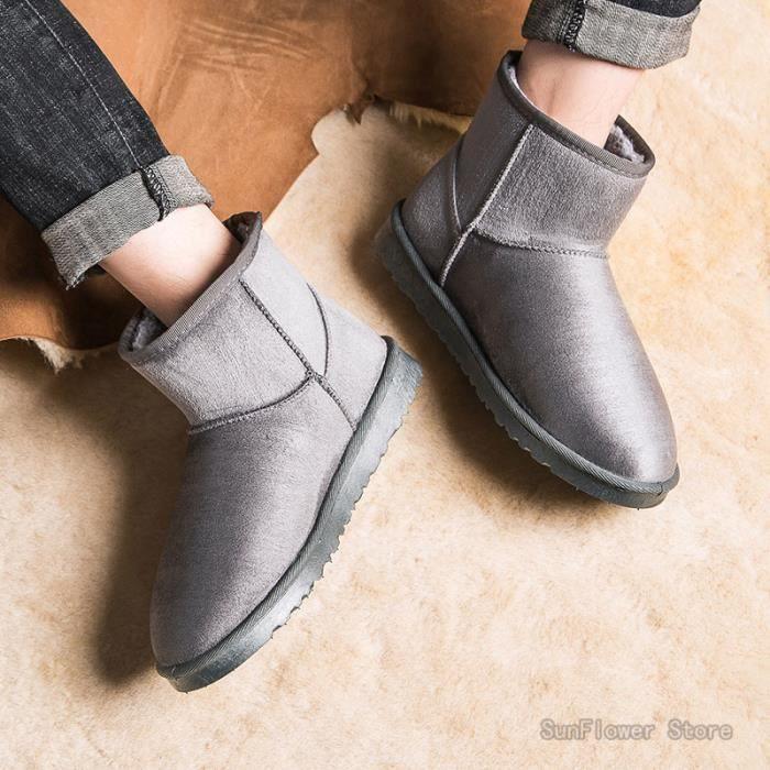 Chaussures d'hiver - Bottes Classiques Chaussures Chaudes Confortables - Gris
