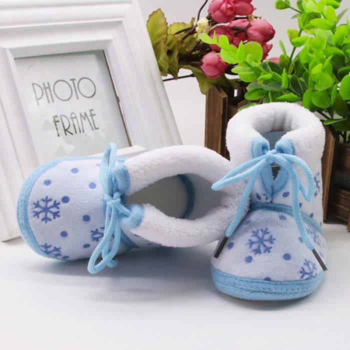 BOTTE Toddler nouveau-né bébé bébé neige impression doux semelle bottes Prewalker chaussures chaudes@Bleu