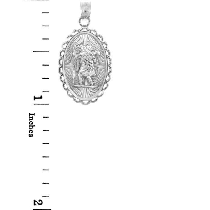 Collier Pendentif14 ct Or 585/1000St. Christopher White Or Collier PendentifCharm (vient avec une Chaîne de 45 cm)