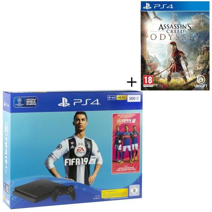 CONSOLE PS4 NOUVEAUTÉ Pack PS4 500 Go + 2 jeux : FIFA 19 + Assassin's Cr