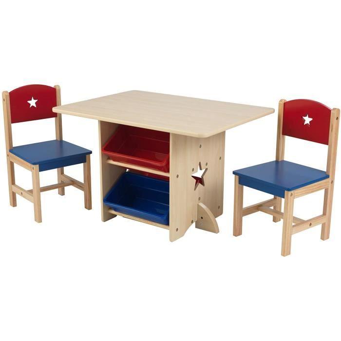 Ensemble Table Et 2 Chaises Avec Motifs Detoiles En Bois Achat