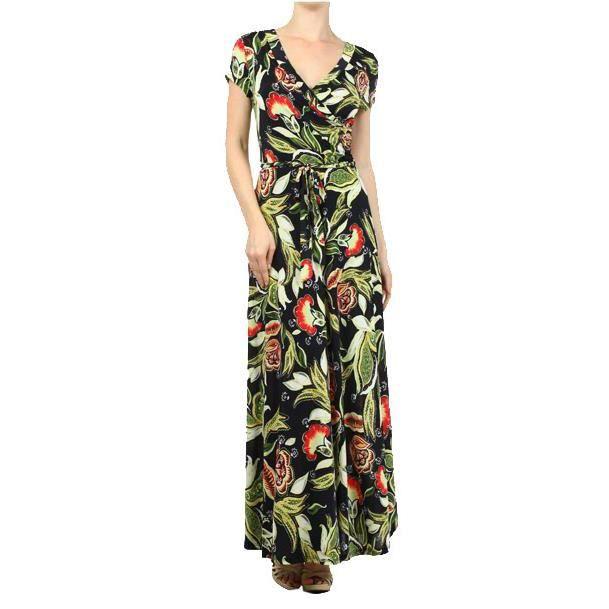 6d4ac19fa77 Waooh Robe longue fleurie décoll... - Achat   Vente Robe Longue ...