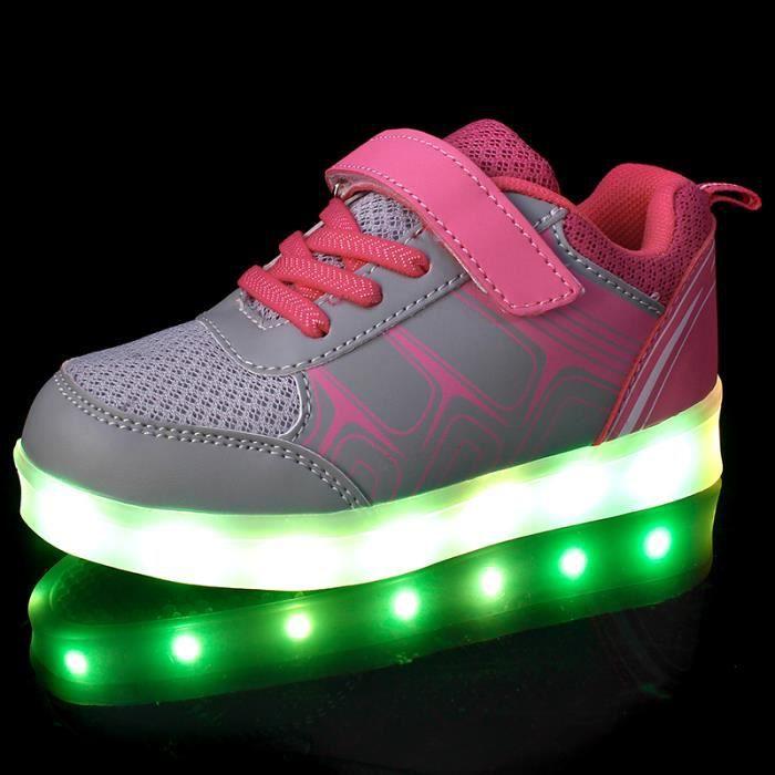 Rose 7 Couleur Sneakers Lumière Lumineux Clignotants Sports Charge de mode Baskets LED USB Filles Enfant Garçons Chaussures