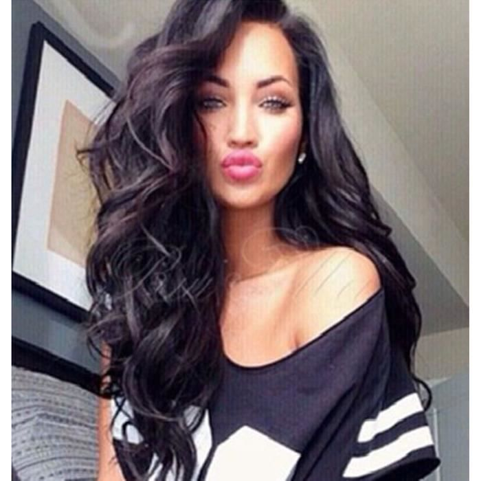 how to style a human hair wig perruques femme cheveux naturel wave grand 1b noir 7580 | perruques femme cheveux naturel body wave grand 1b