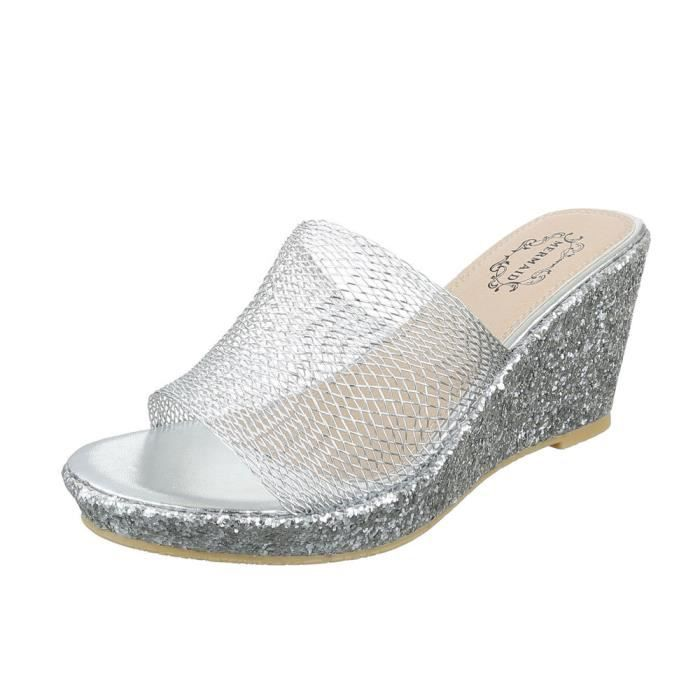 femme sandale chaussure chaussures d'été chaussures de plage semelle compensée Wedges mule bleu 3vukSr1M