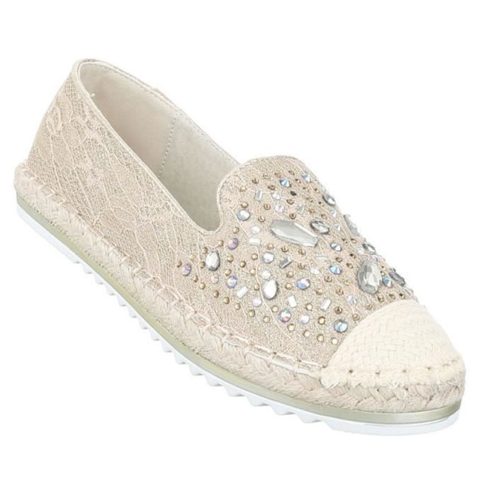 41 or Loafer Slipper chaussure beige Femme bassechaussures aqgHfg