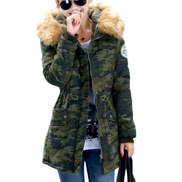 3b80b380f8917 Parka pour a capuche Femme Marque Luxe a la mode camouflage col en ...