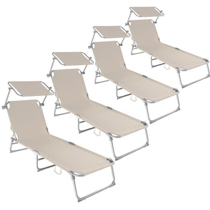 4 chaises longues de jardin transat bain de soleil pare soleil multi positions pliables 190 cm beige tectake