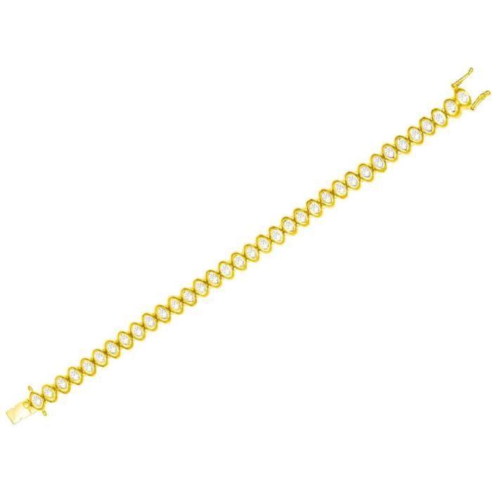Bracelet Pour Femme Rivière De Diamants Encerclés Dor Jaune - TU 35 Diamants - 0,50 Ct