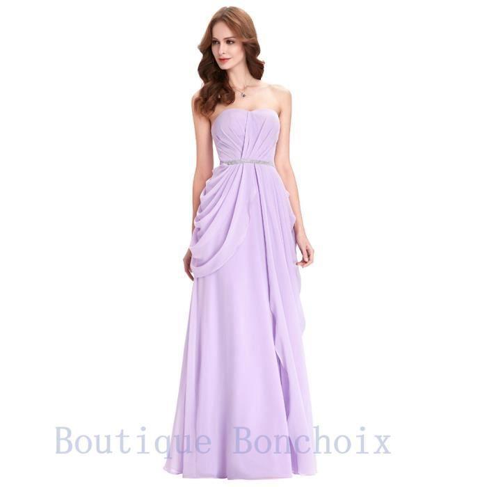 513d8f43d4f Robes de Soirée Cocktail Cérémonie Femme Longue Violet Bustier Robe dété ...