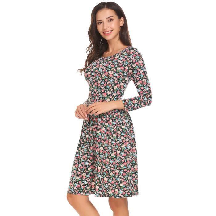 Femmes robe O cou manches 3-4 Floral A ligne courte partie